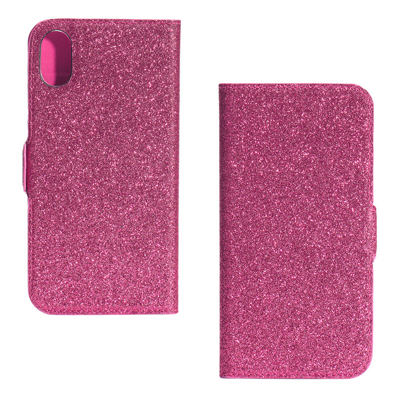Fashionable bling bling glitter shimmering power PU flip leather phone case for iPhone X