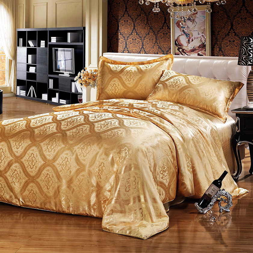 Luxury Jacquard 4 pcs gold Digital printing 16mm 100% mulberry silk bedding set