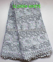 2013 fashion watersoluble embroidery spangles fabric lace white