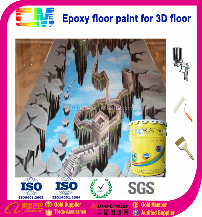 Transparent floor paint for epoxy floor paint 3D floor