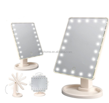Beauty Fancy plastic foldable mini round craft table stand mirror 2-sided LED Round Plastic table Mirror with magnify