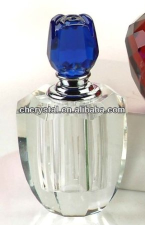 blue flower top crystal attar decorative perfume bottles, mini glass crystal perfume scent bottle MH-X0638