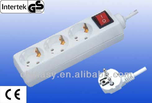 CE GS Germany 3-way electric extension sockets/power strip with switch
