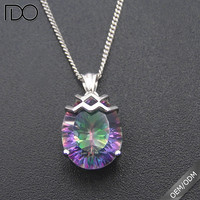 High quality promotion custom cz jewelry mystic topaz pendant with cz