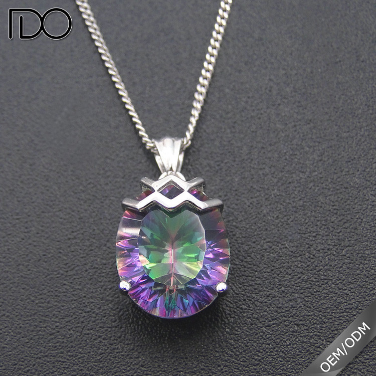 High quality promotion custom cz pendant,rainbow pendant with cz