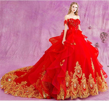 2017 Luxury High Quality Red Rose Flower Beading Stone Appliqued Ball Gown Wedding Dress