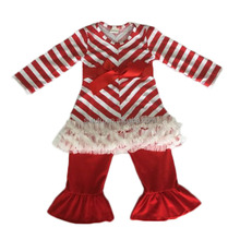 2017 new fashion girl's boutique toddler 2 pieces custom baby clothing set red chevron with lace ruffles set