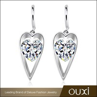 OUXI korean style AAA zircon sterling silver love heart earrings Y20329