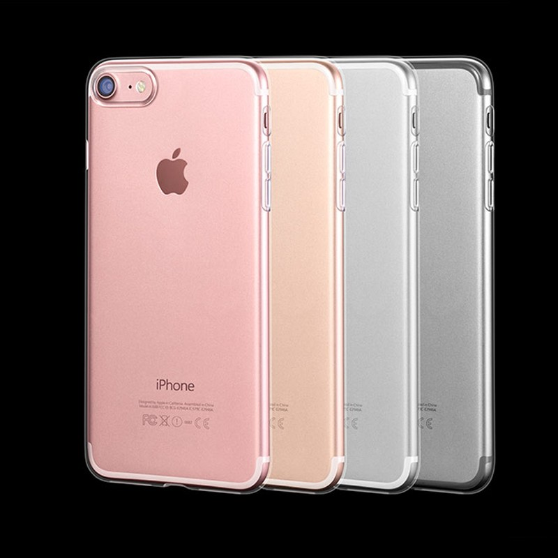 crystal clear transparent soft TPU Silicone gel mobile phone back cover case for iphone 7 7 plus