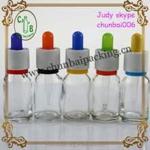 15ml clear glass e liquid empty bottle with glass dropper bottle,colored circle and rubber