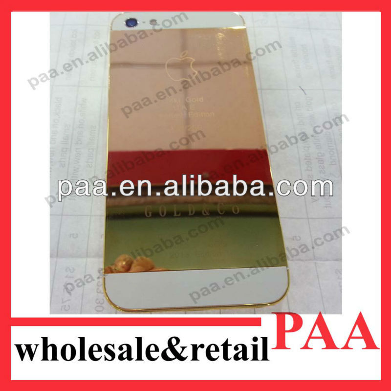 Luxury 24ct,24k,plating back cover for lphone 5 5g housing