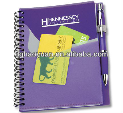 Hot sale plastic cover wave Convenient pocket buddy spiral notebook