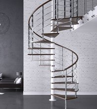 Modern Wood Circular Stairway With Stainless Steel Railing Design