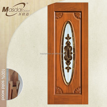 Stained glass insert office entrance wooden doors in Dubai