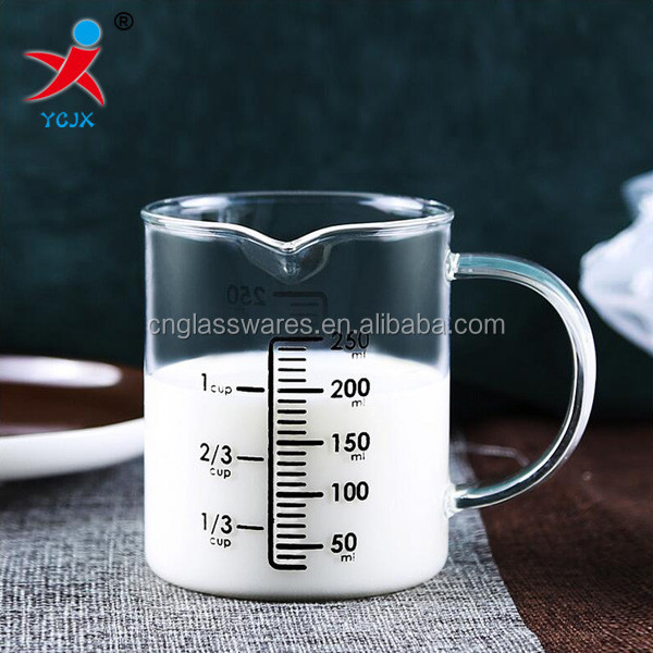 handmade measuring pyrex glass milk drinking cup with scales