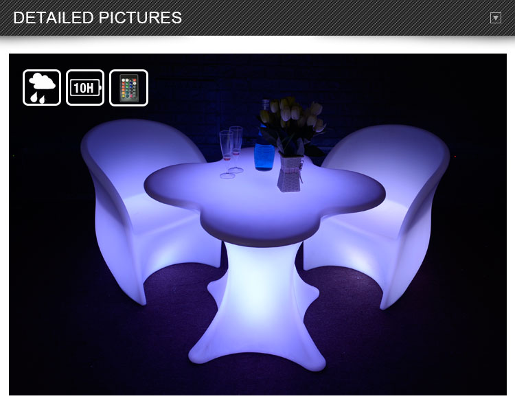 16 colors waterproof outdoor furniture led tables flower shaped coffee table