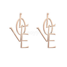 Unique design hot sale women fashion jewelry custom metal love earring
