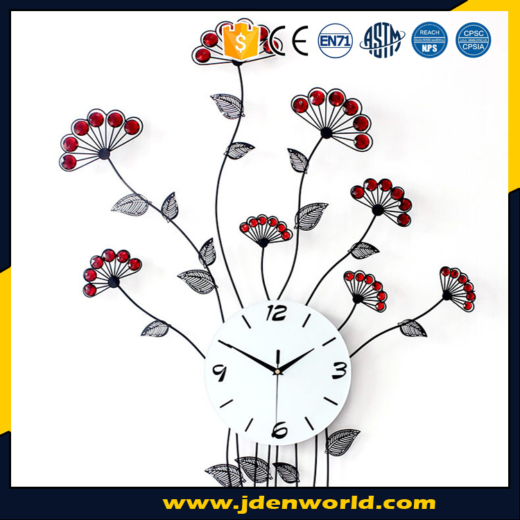 New fashion fantasy design flower shape metal art wall clock