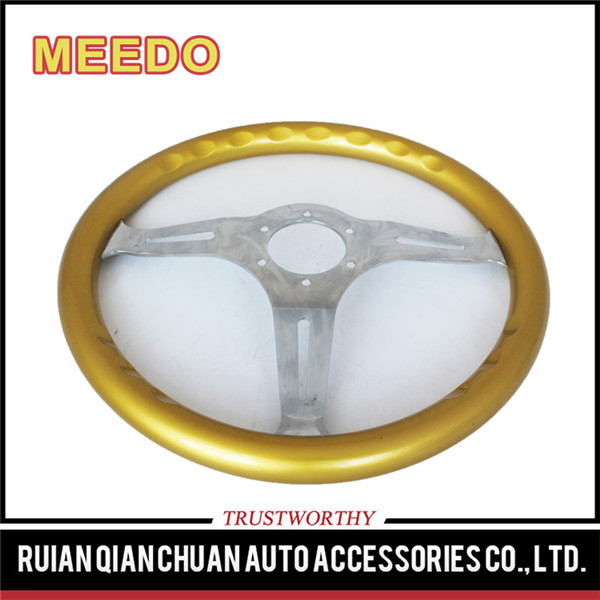 14inch/350MM neo chrome yellow grain steering wheel(classical /racing sport)