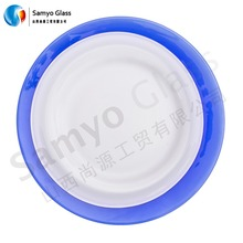 Samyo white porcelain color glass plate with blue rim for wedding
