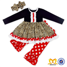 Girls Leopard Ruffle Tunic Red Polka Dots Pant Frock Suits For Baby Girl Clothing Set