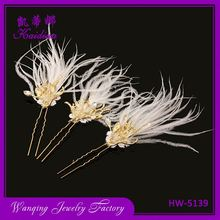 Latest arrival gold metal rhinestone bridal feather hair comb