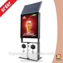 High quality wholesale custom garbage trash bin with solar battery powered advertising light box