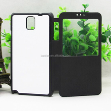 New Arrival 2D Sublimation filp leather with window phone case for Samsung Note 3 leather case with metal plate