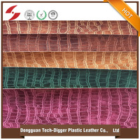 Cheap Embossing PU Leather Crocodile Pattern Faux Synthetic Leather for Shoes Bags 2016