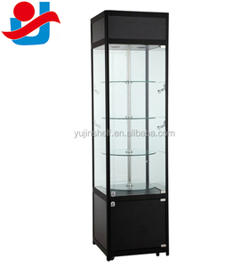 Lockable Rotating Display Showcase, Electric Revolving Glass Cabinet with spotlight for camera display