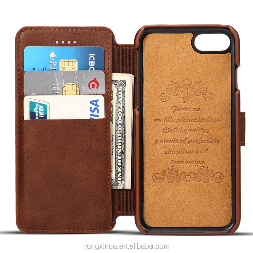 New Genuine Cowhide Leather Flip Wallet Phone Case For iPhone 6 For iPhone 7 leather wallet case