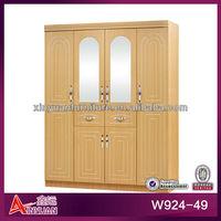 W924-49 wholesale 6 door 2 drawer 2 mirror carved beech PVC panel wooden cheap wardrobe closet