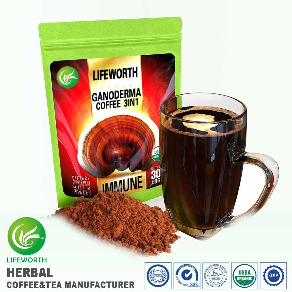 Lifeworth best selling in USA market new premium 3 in 1 instant coffee mix with ganoderma lucidum and private label