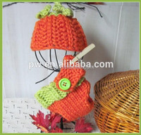 Handmade crochet newborn Pumpkin Hat and Diaper Cover set for Newborn Knitted photography prop