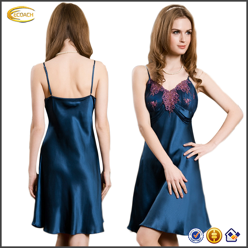 Ecoach China silk Sexy Slip Pajama Dress girl sexy silk pajamas nightwear strap sexy one piece pajamas