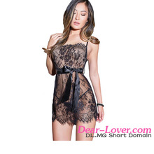 Wholesale Fashion Black Eyelash Trim Lace Set Hot Pics Sexy Girls Babydoll