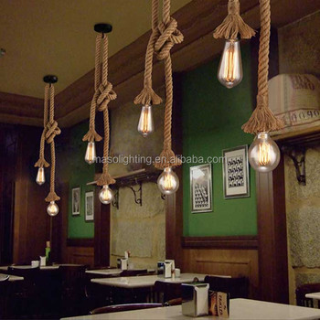 Decoration Hemp Rope pendant light, Energy saving Edison light fixture, resturant/bar retro drop light