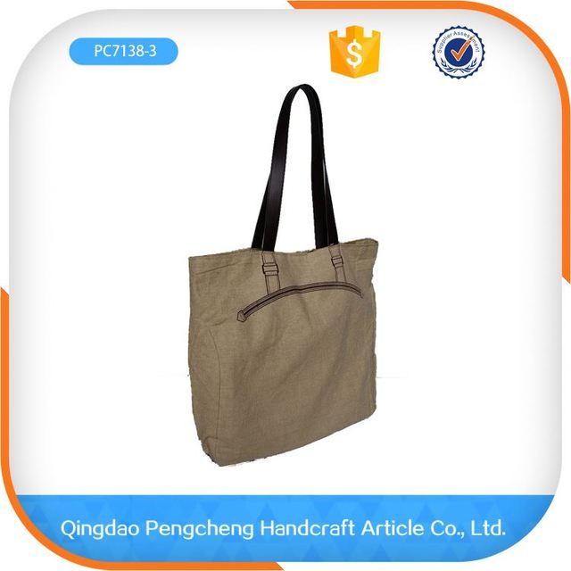 2016 New Design High Quality Ladies Fashion woman natural canvas shoulder bag