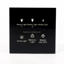 Multifunctional Room Custom Touch Senor Wall Light Switch Curtain Fan Switch for 6 gang in 1 panel