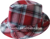 red check fashion fedora hat/tartan hat