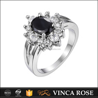 2016 HOT sale black 925 cz ring with 18k gold plated