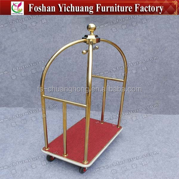 High Quality Birdcage Bellman Cart for Five Star Hotel / Titanium Gold Birdcage Luggage Cart YC-0279-03