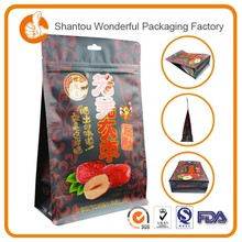 dried fruit packaging square bottom plastic bag coffee tea bags with zip top