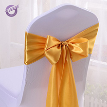 BS00042 Wedding christmas gold satin chair sashes for chair cover
