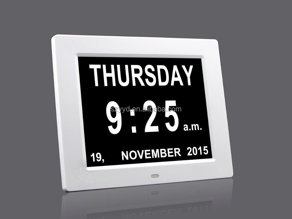 8 inch auto dimming digital desktop clock calendar with Non-Abbreviated Day & Month