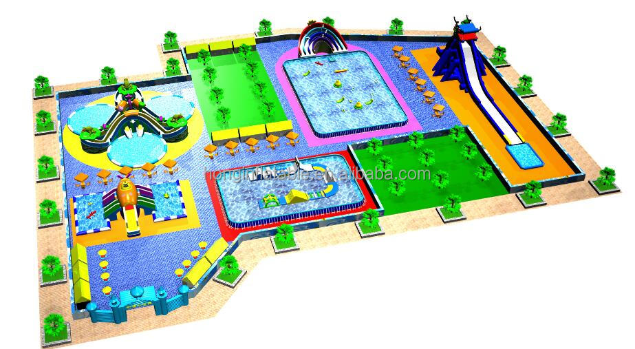 Giant commercial inflatable floating water park island, aqua park for land