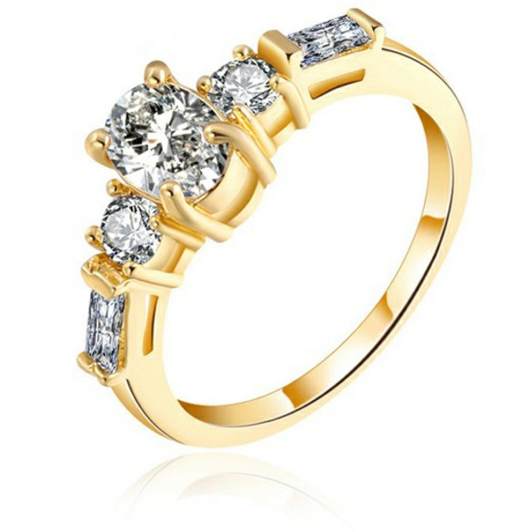 Luxury Hot sale Amazon 18K real gold plated ring copper fashion new 1gm zircon rings wedding