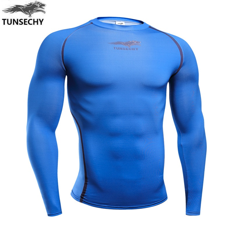 2017 Summer Fashion T Shirt Custom High Quality Tight Fit 100%Polyester Quick Dry Sportswear Long sleeve Model Men's T- shirt