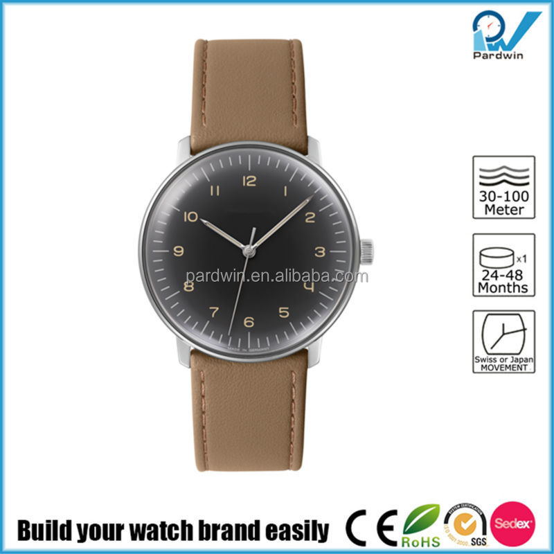 Fascinated watch collections germany design brand stainless steel case leather strap watch japan automatic movement