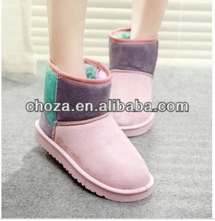 C60259A 2013 THE NEWEST AUTUMN/WINTER POPULAR FASHION THICK WARM MANY COLOR SPLICING SNOW BOOTS